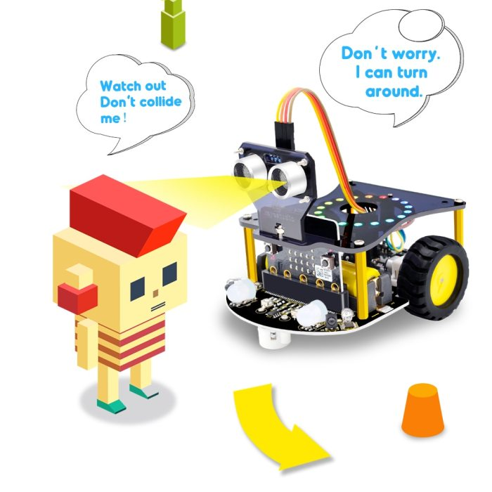 Weegeeks Mini Smart Micro Bit Robot Car V2.0 for Micro:bit Robot