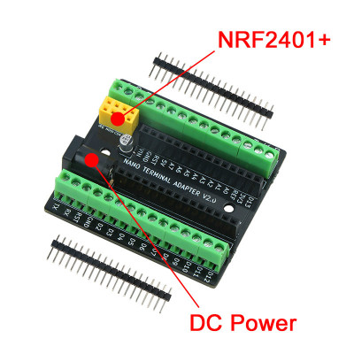 Nano Terminal Expansion Adapter Board for Arduino Nano V3.0 AVR ATMEGA328P with NRF2401+ Expansion Interface DC Power