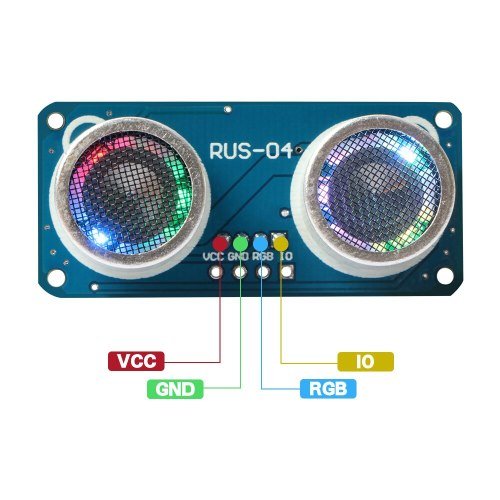RUS-04 Ultrasonic Module with RGB Light Distance Sensor Compatible HC-SR04 obstacle avoidance sensor for Arduino Smart Car Robot