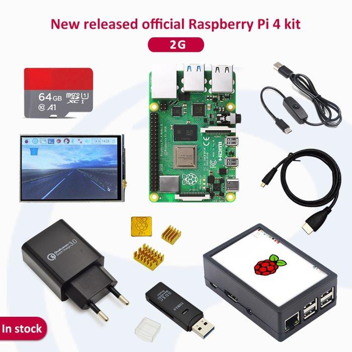 Raspberry pi 4 2GB/4GB/8GB kit Raspberry Pi 4 Model B PI 4B: +Heat Sink+Power Adapter+Case +HDMI Cable+3.5 inch screen