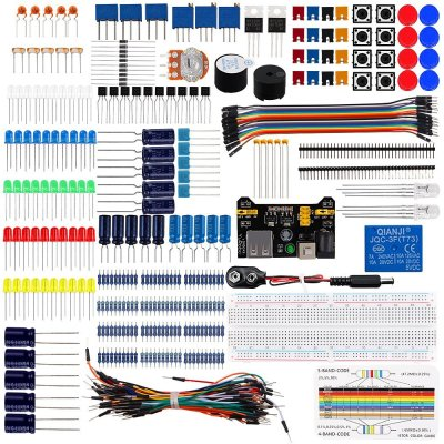 Diy Electronics Basic Starter Kit Breadboard,Jumper wires,Resistors,Buzzer for Arduino UNO R3 Mega256
