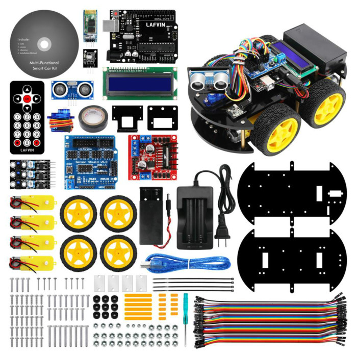 Multi-functional Smart Robot Car Kit for UNO R3, Ultrasonic Sensor, Bluetooth Module for Arduino with Tutorial