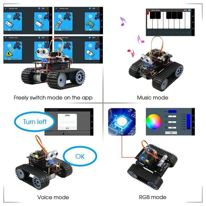 Tank Robot for Arduino Starter Kit Smart Car With Lesson APP RC Robotics Learning Kit Educational STEM Toys For Children