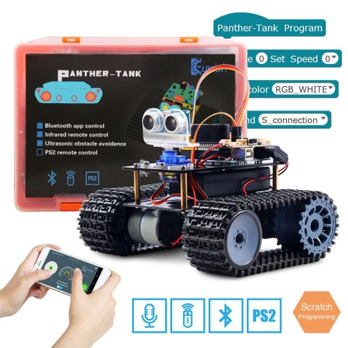 Tank Robot for Arduino Starter Kit Smart Car With Lesson APP RC Robotics Learning Kit Educational STEM Toys For Children
