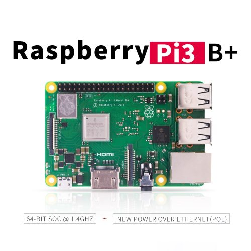Raspberry Pi 3 Model B+ (plus) Built-in Broadcom 1.4GHz quad-core 64 bit processor Wifi Bluetooth and USB Port