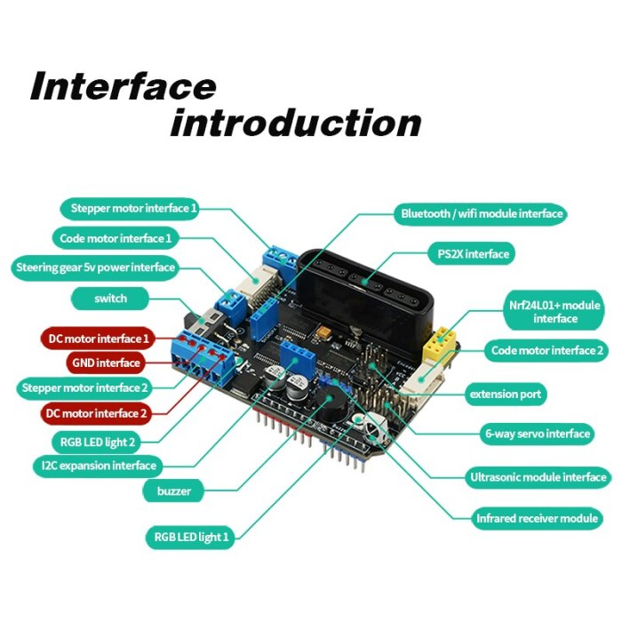 Compatible with Arduino R3 Four-way Motor Driver Board PS2 Bluetooth Smart Car Robot Arm TB6612FNG