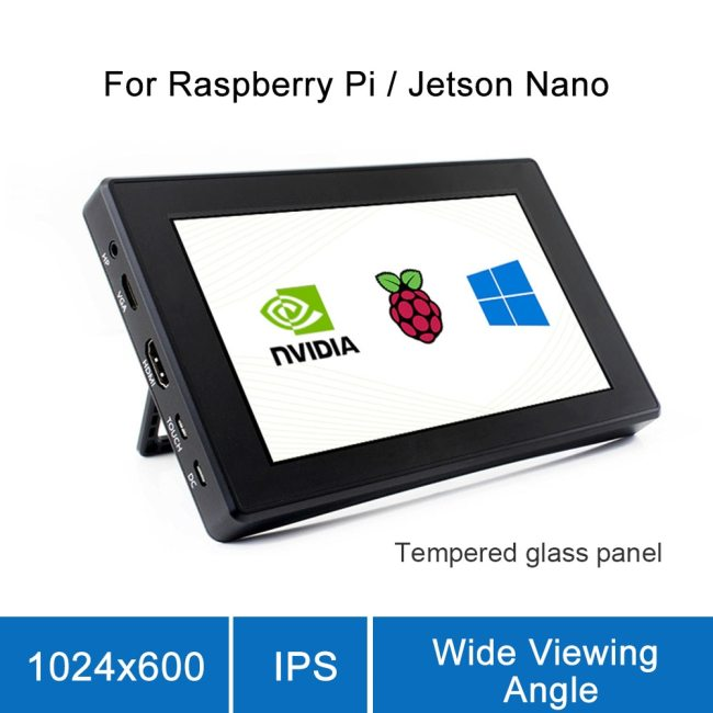Raspberry Pi 4 Model B/ 3B+/ 3B 7 Inch Screen with LCD Screen Case 7 Monitor Display 1024x600 IPS Capacitive Touch Screen