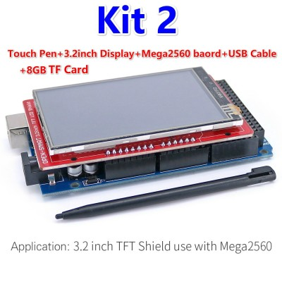 Kit 1/2 - 3.2 Inch TFT LCD Display Module Touch Screen Shield Kit Onboard Temperature Sensor + Touch Pen / TF Card /Mega2560 for Arduino