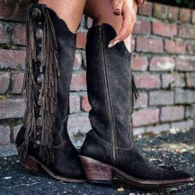 Women Cowgirl Western Slip-on Boot Shoes