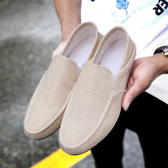 Men's Woven Style Linen Stretch Collapsible Heel Casual Driving Shoes