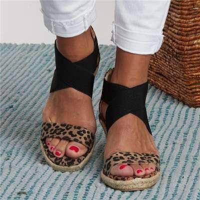 Summer Round Toe High Heel Wedge Casual Ladies Sandals