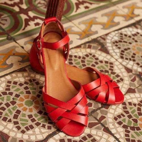 Vintage Across Strap Flat Sandals