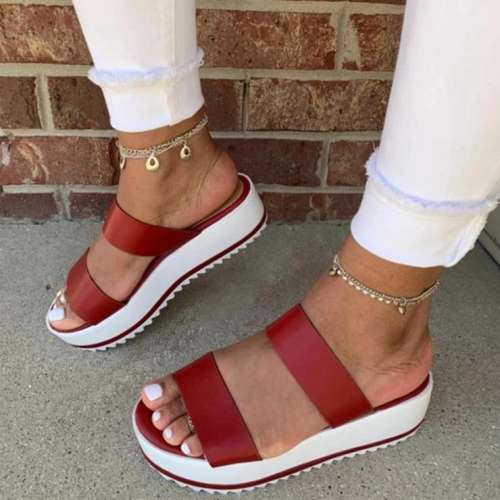 Women's Slingbacks Nubuck Wedge Heel Sandals