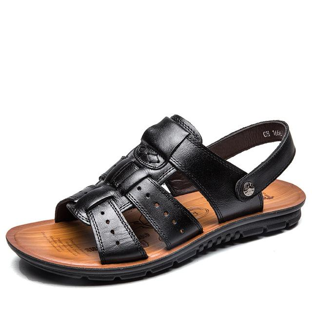 Men's PU Leather Sandals Summer Beach Casual Slippers Flip Flops Shoes