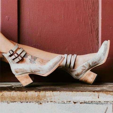 Casual Brass Buckle Chunky Heel Sandals Vintage Back Zipper Sandals
