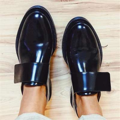 Women's Fashion Casual Mirror Reflective Shallow Mouth Flat Loafers