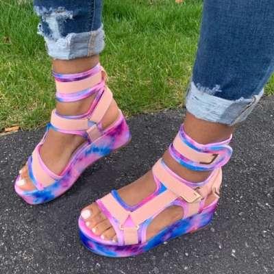 Magic Tape Platform Sandals