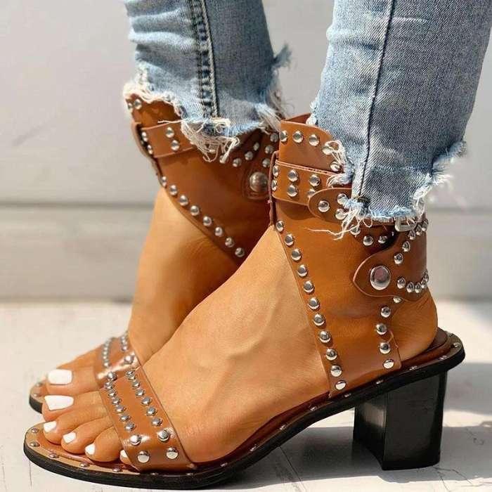 Open Toe Rivet Chunky Heeled Sandals For Women
