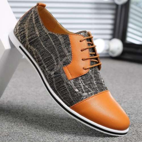 Large Size Men's Cap Toe Color Blocking Lace Up Casual Oxfords