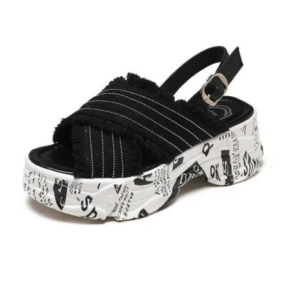 Women's Denim Alphabet Open Toe Buckle Strap Creepers Platform Sandals