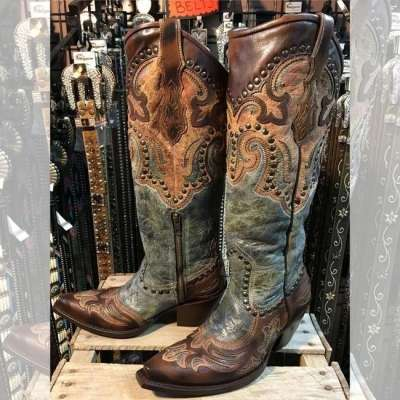 Ladies Sexy Corral Distressed Antique Saddle Boots