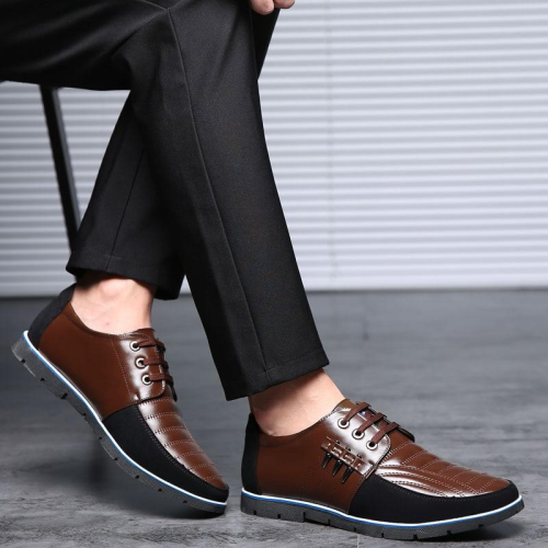 Genuine Leather Design Elastic Band Solid Tenacity Comfortable Men's Shoes