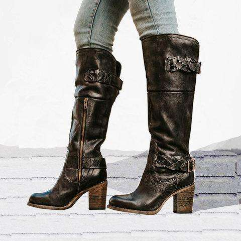 Vintage Braided Strap Boots Chunky Heel Side Zip Boots