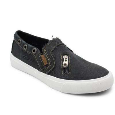 Large Size Zipper Denim Loafers Flats Canvas Shoes Women Casual Slip on