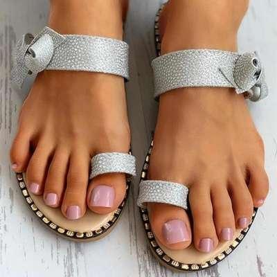 Womens Bowknot Glittering Strap Toe Ring Slide Sandals