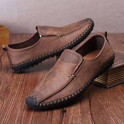 Men's  Hand Stitching Soft Sole Cap-toe Laze Shoes Slip On Loafers