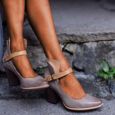 Women Casual Vintage Chunky Heel Sandals Buckle Shoes