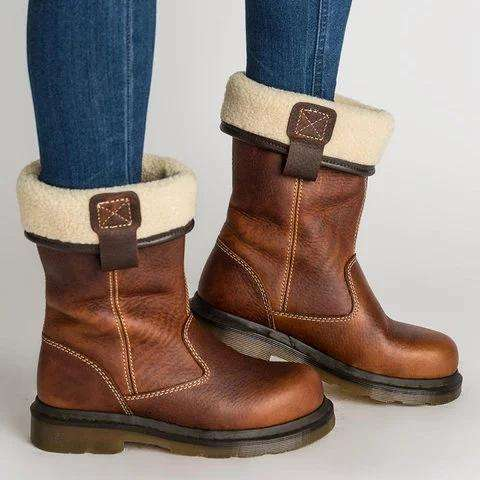 Women's Shoes Chunky Heel Fur Lined Boots