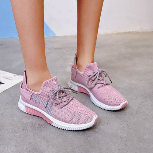 Lace decoration letters pattern knit sneakers