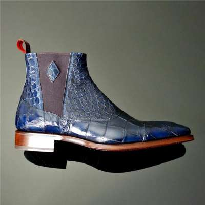 Men's Carved Pointed Toe Crocodile Chelsea Boots