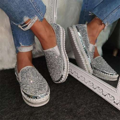 Women Shining Rhinestone Slip-on Loafers