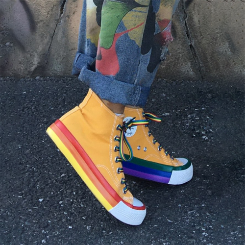 Rainbow Bottom Casual Shoes Woman High Top Sneakers