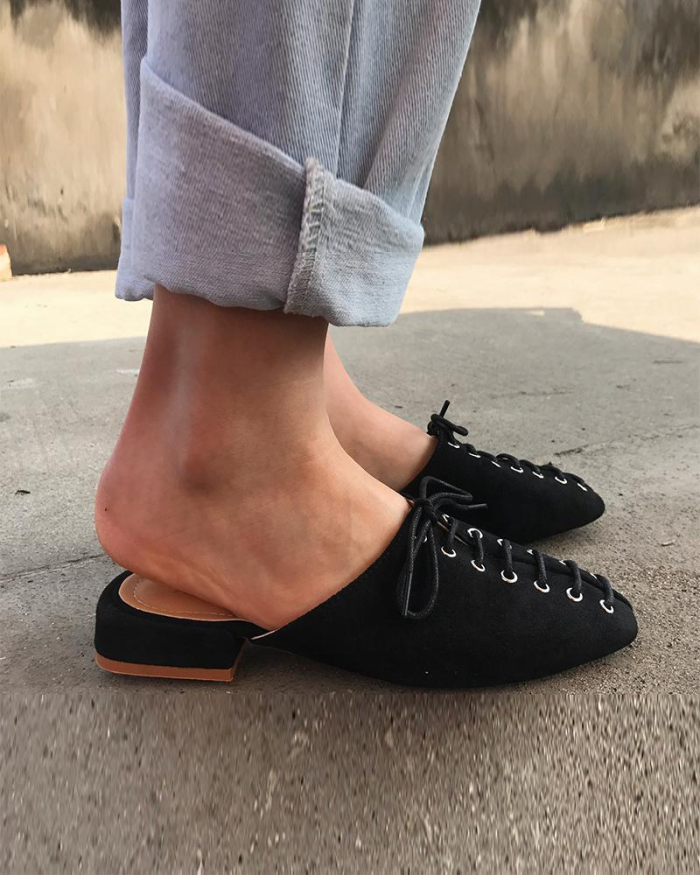 Square Toes Lace-up Mules