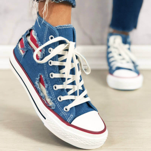 Women Trendy Stripe Hit Color High Top Lace Up Flat Heel Canvas Sneakers