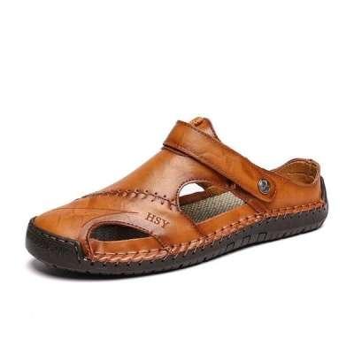 Men's Leather Roman Beach Sandals Slippers