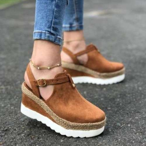 Women's Summer Buckle Round Toe Wedges Sandals