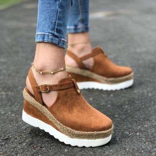 Women's Summer Buckle Round Toe Wedges Sandals