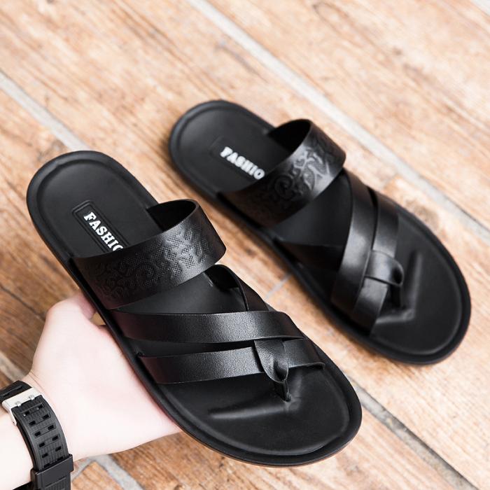 Men's Genuine Leather Sandals Beach Flip Flops Slip-on Sandal Shoes