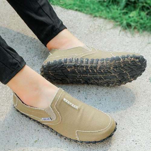 Men's Pure Color Canvas Splicing Slip Resistant Slip On Casual Flats