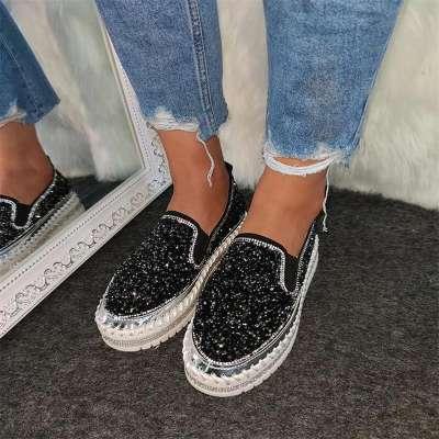Women Shining Rhinestone Slip-on Loafers