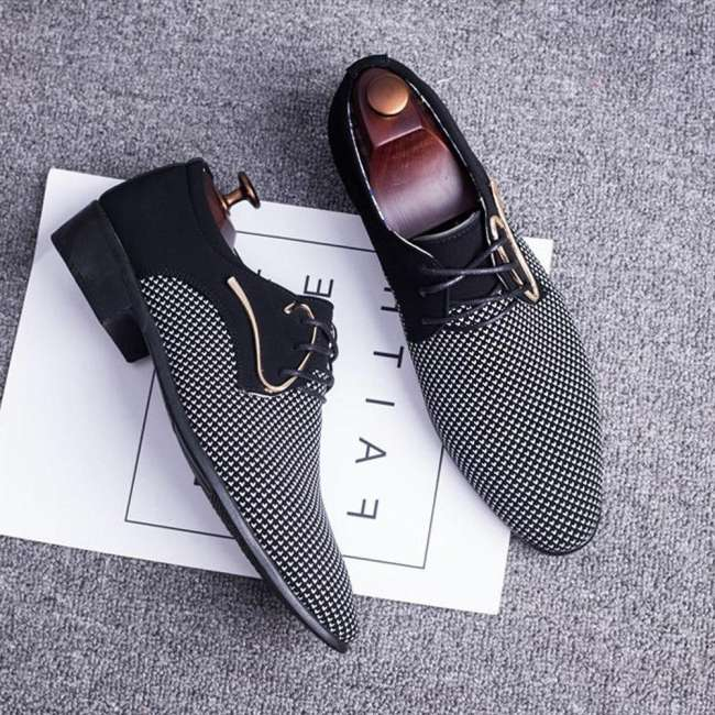 Large Size Men's  Stylish Splicing Leather Casual Formal Dress Shoes