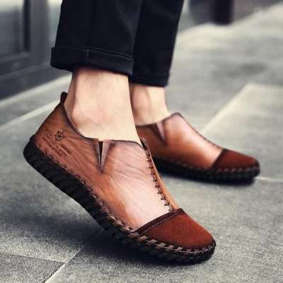 Men's  Vintage Cow Leather Hand Stitching Soft Loafers Casual Shoes