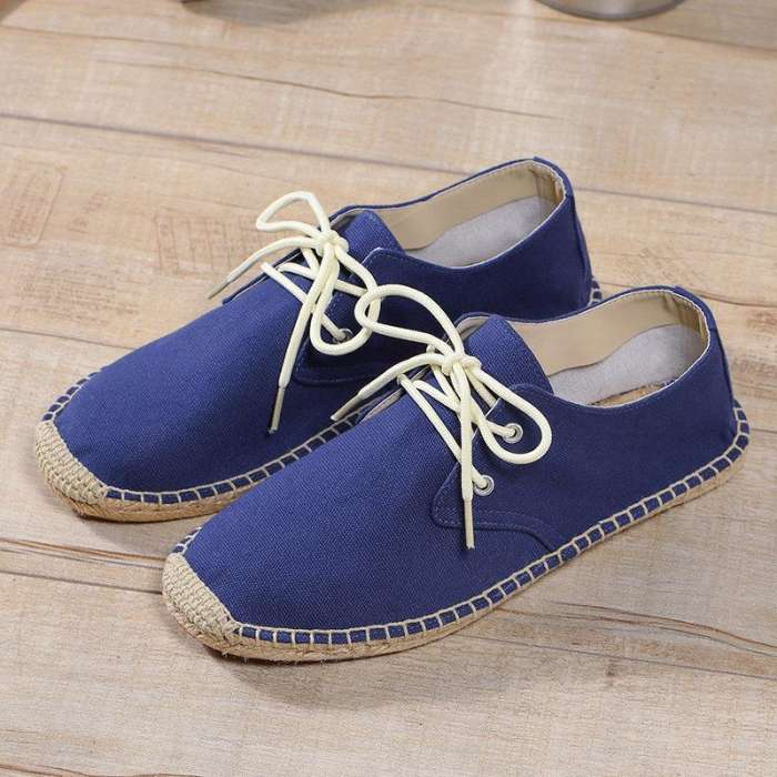 Men's Hand Stitching Non Adhesives Linen Flat Lace Up Espadrilles