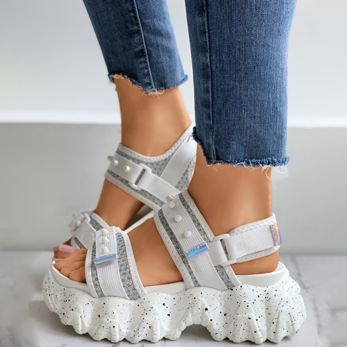 Glitter Velcro Slingback Platform Sandals