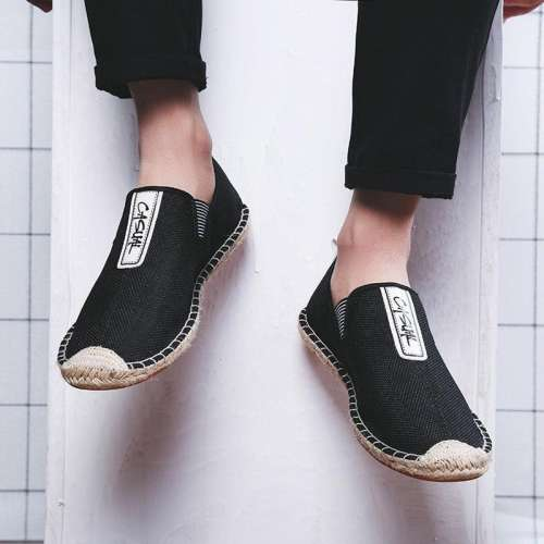 Men Linen Brethable Comfortable Flat Slip On Espadrilles