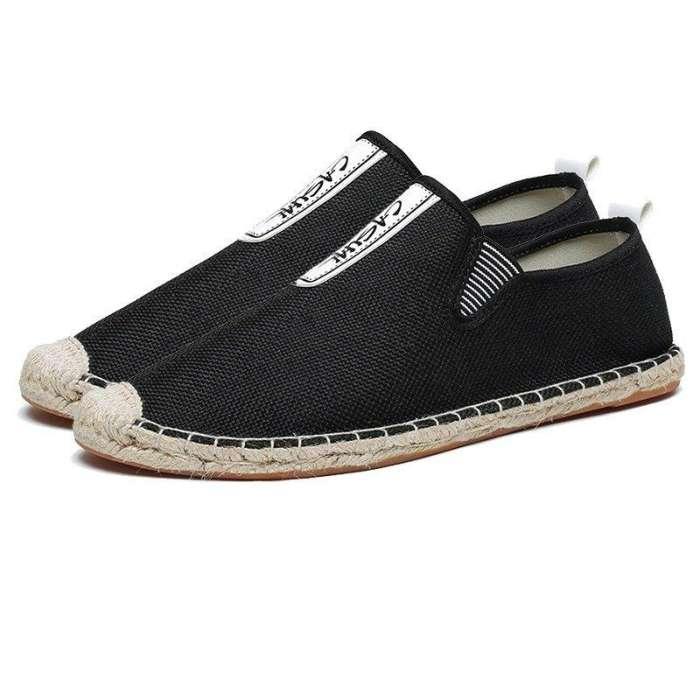 Men Linen Brethable Comfortable Flat Slip On Espadrilles